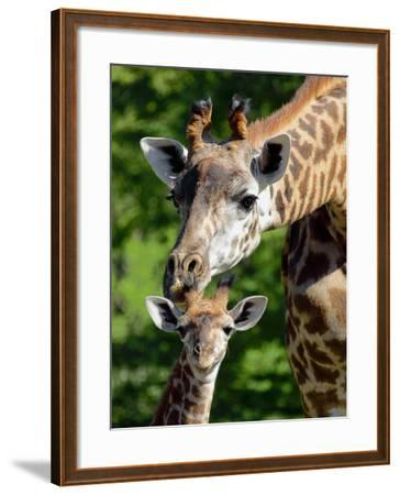 Bridgit and Her 3-Week Old Son Mac--Framed Photographic Print