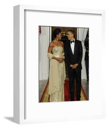 President Obama and First Lady before Welcoming India's Prime Minister and His Wife to State Dinner--Framed Photographic Print