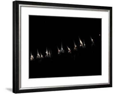 Penitents Participate in Procession of 'Jesus Yacente' Brotherhood, During Holy Week in Zamora--Framed Photographic Print