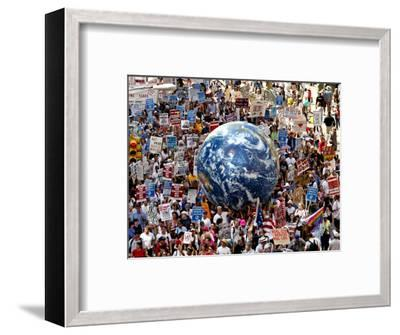 Crowd Fills a Manhattan Avenue During a Protest March in New York--Framed Photographic Print