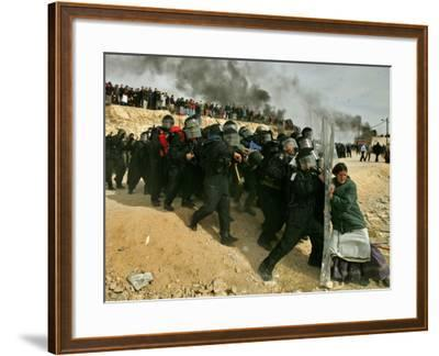 Jewish Settler Struggles with an Israeli Security Officer as Authorities Evacuated the Settlement--Framed Photographic Print