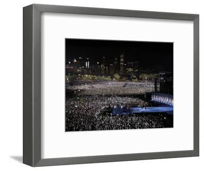 Barack Obama and Family Walk onto the Stage at His Election Night Party at Grant Park in Chicago--Framed Photographic Print