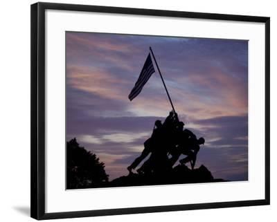 US Marine Corps Memorial is Silhouetted Against the Early Morning Sky in Arlington, Virginia--Framed Photographic Print