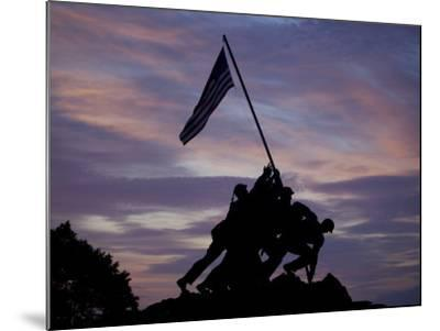 US Marine Corps Memorial is Silhouetted Against the Early Morning Sky in Arlington, Virginia--Mounted Photographic Print