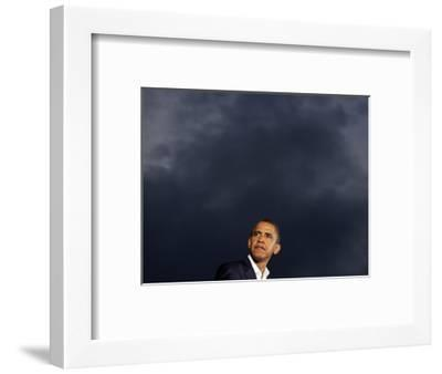 VP Candidate Senator Joe Biden Introduces Presidential Candidate Senator Barack Obama at a Rally--Framed Photographic Print