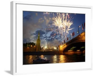 Fireworks Explode over the Kremlin, with St. Basil's Cathedral, Marking the Day of Russia in Moscow--Framed Photographic Print