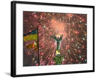Fireworks Explode Behind the Independence Column, after a Huge Opposition Rally in Kiev--Framed Photographic Print