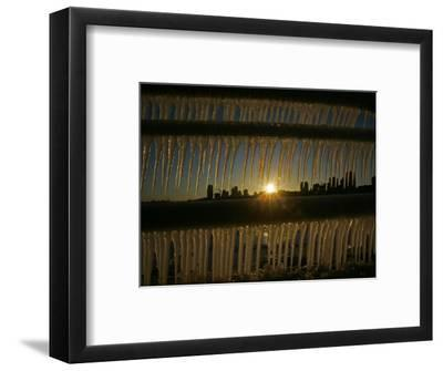 Sun Sets on a Sub Zero Day Behind the Skyline of Milwaukee--Framed Photographic Print
