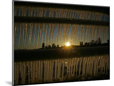 Sun Sets on a Sub Zero Day Behind the Skyline of Milwaukee--Mounted Photographic Print