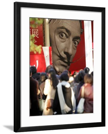 Visitors Form a Long Queue Outside Tokyo's Ueno-No-Mori Art Museum--Framed Photographic Print