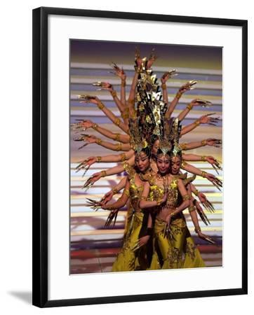 Chinese Dancers Perform During a Dress Rehearsal for the 54th Miss World Contest in Sanya--Framed Photographic Print