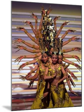 Chinese Dancers Perform During a Dress Rehearsal for the 54th Miss World Contest in Sanya--Mounted Photographic Print