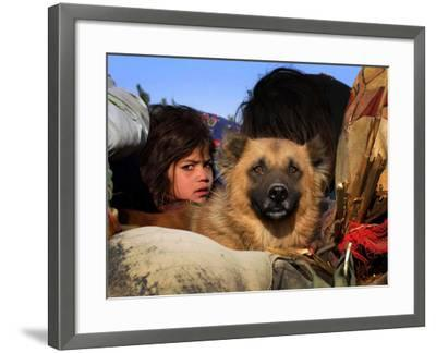 Looking Out from a Vehicle as They Wait for Security Clearance at a Checkpoint on Outskirt of Bannu--Framed Photographic Print