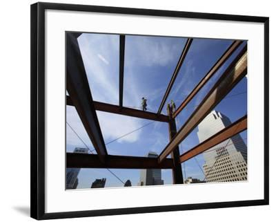 Ironworker Walks a Beam Above the 24th Floor of One World Trade Center in New York--Framed Photographic Print