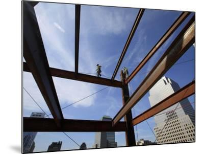 Ironworker Walks a Beam Above the 24th Floor of One World Trade Center in New York--Mounted Photographic Print