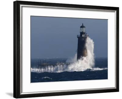 Heavy Surf Slams into the 72-Foot-Tall Ram Island Ledge Light--Framed Photographic Print