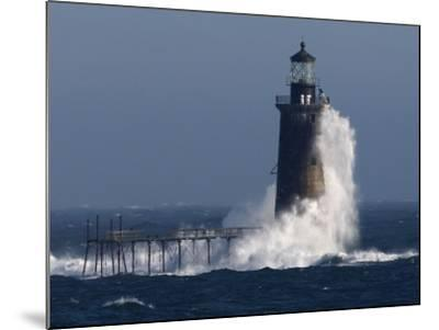 Heavy Surf Slams into the 72-Foot-Tall Ram Island Ledge Light--Mounted Photographic Print