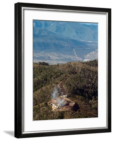 Smoke Rises from a Drilling Rig on the Roan Plateau-Peter M. Fredin-Framed Photographic Print