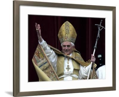 Pope Benedict XVI Waves to Pilgrims and Faithful fromSt. Peter's Basilica at the Vatican--Framed Photographic Print