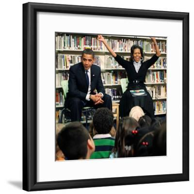 Before President Barack Obama and Wife Read to Second Graders at Capital City Public Charter School--Framed Photographic Print