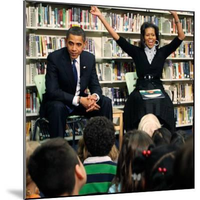 Before President Barack Obama and Wife Read to Second Graders at Capital City Public Charter School--Mounted Photographic Print