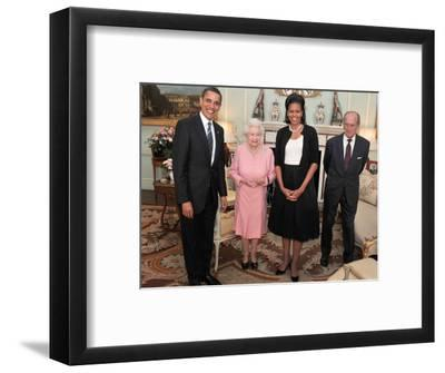 President Obama and His Wife Pose with Queen Elizabeth II and Prince Philip, During an Audience at --Framed Photographic Print
