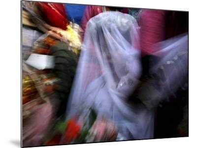 Bride Sits Next to Groom During a Mass Marriage Ceremony for About 50 Couples in Amritsar, India--Mounted Photographic Print