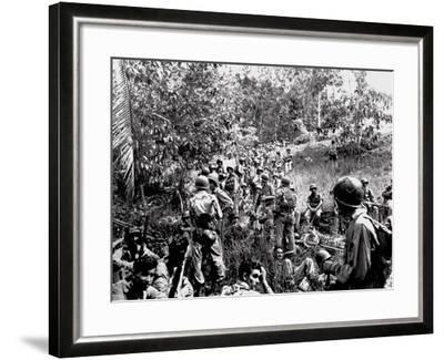 WWII Guadalcanal U.S. Marines--Framed Photographic Print
