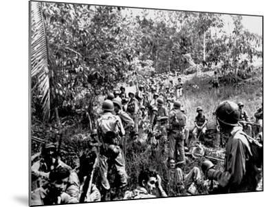 WWII Guadalcanal U.S. Marines--Mounted Photographic Print