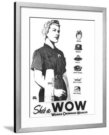 WWII U.S. Woman Ordnance Worker- U.S. Army Signal Corps-Framed Photographic Print