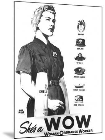 WWII U.S. Woman Ordnance Worker- U.S. Army Signal Corps-Mounted Photographic Print