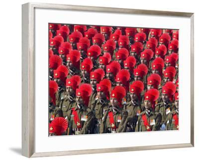 Security Personnel March at the Republic Day Parade in New Delhi, India, Friday, January 26, 2007-Mustafa Quraishi-Framed Photographic Print