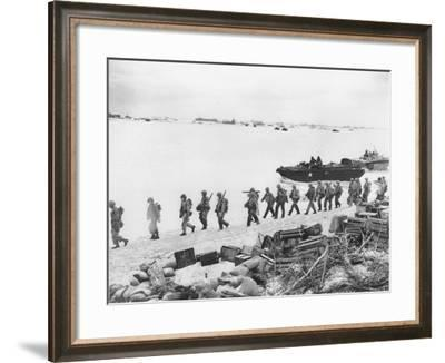WWII U.S. Troops Invade Saipan--Framed Photographic Print