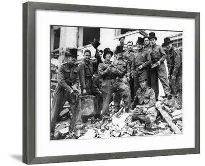 WWII London Rescue Workers- Uncredited-Framed Photographic Print