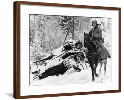 WWII Red Army Cavalry Rider--Framed Photographic Print