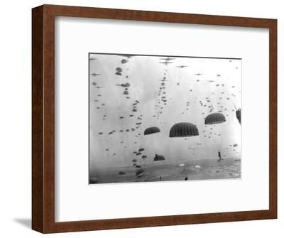 WWII Parachutes over Holland--Framed Photographic Print