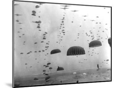 WWII Parachutes over Holland--Mounted Photographic Print