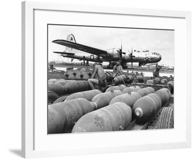 WWII Loading U.S. Bombers--Framed Photographic Print