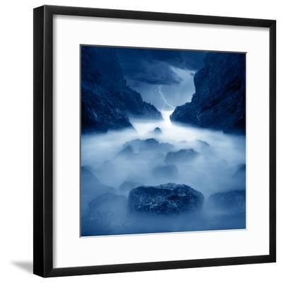 Tormenta en ixtapa Blue-Moises Levy-Framed Photographic Print