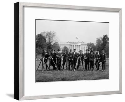 Press Correspondents and Photographers on White House Lawn--Framed Photographic Print
