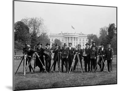 Press Correspondents and Photographers on White House Lawn--Mounted Photographic Print