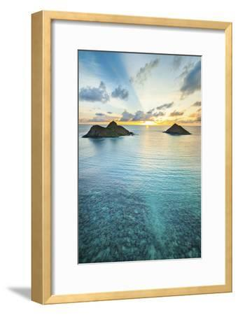 Lanikai Rainbow Sunrise-Cameron Brooks-Framed Photographic Print