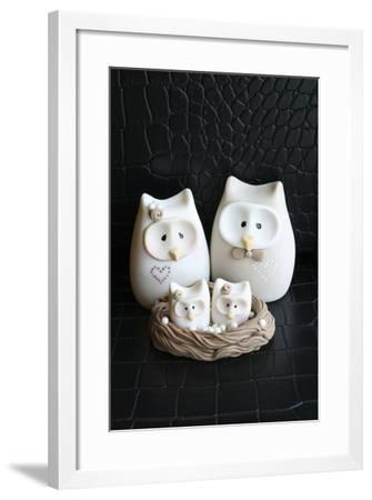 Owl Family Taupe--Framed Photographic Print