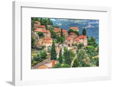 Tuscan Hilltop Town-Robert Goldwitz-Framed Photographic Print