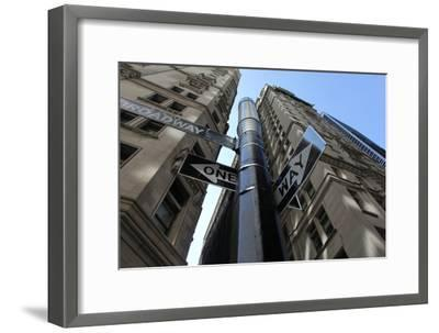 NYC Lower Broadway Looking Up-Robert Goldwitz-Framed Photographic Print