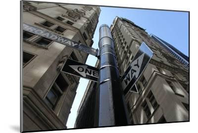 NYC Lower Broadway Looking Up-Robert Goldwitz-Mounted Photographic Print