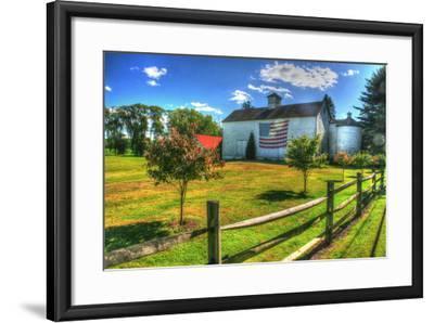 White Barn and Flag-Robert Goldwitz-Framed Photographic Print