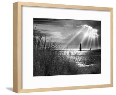 Frankfort Lighthouse and Sunbeams, Frankfort, Michigan '13-Monte Nagler-Framed Photographic Print