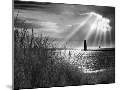 Frankfort Lighthouse and Sunbeams, Frankfort, Michigan '13-Monte Nagler-Mounted Photographic Print
