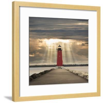 Manistique Lighthouse and Sunbeams, Manistique, Michigan '14-Monte Nagler-Framed Photographic Print